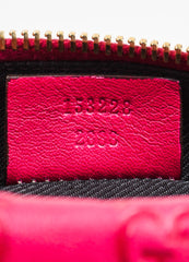 Gucci Pink Guccissima Leather 'GG' Monogrammed Zip Cosmetics Pouch Serial