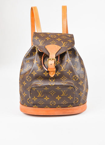 "Louis Vuitton Brown Tan Coated Canvas Monogram ""Montsouris"" Backpack Front"