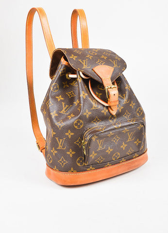 "Louis Vuitton Brown Tan Coated Canvas Monogram ""Montsouris"" Backpack Side"