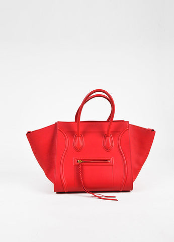 "Celine Red Leather Medium ""Phantom Luggage"" Tote Front"
