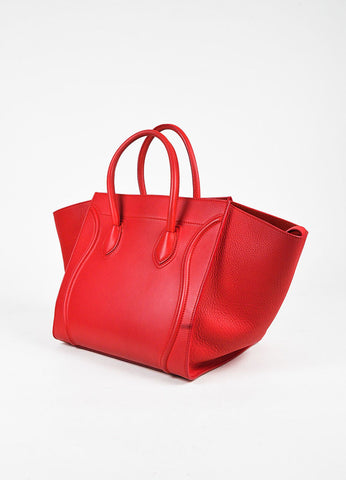 "Celine Red Leather Medium ""Phantom Luggage"" Tote Back"