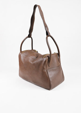 "Hermes Chocolat Brown Clemence Leather ""Lindy 34"" Bag Sideview"