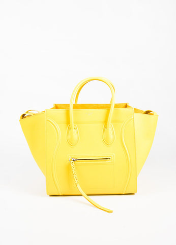 "Celine Light Yellow Grained Leather ""Medium Phantom Luggage Tote"" Bag Frontview"