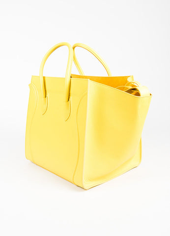 "Celine Light Yellow Grained Leather ""Medium Phantom Luggage Tote"" Bag Sideview"