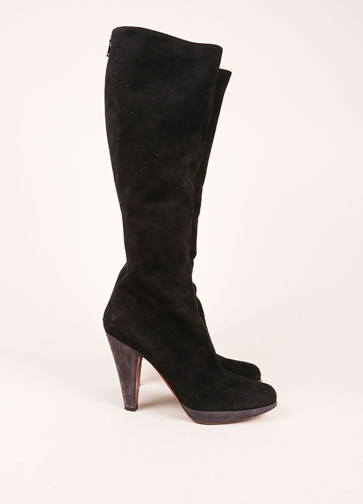 Alaia Black and Grey Suede Leather Contrast Knee High Boots Sideview