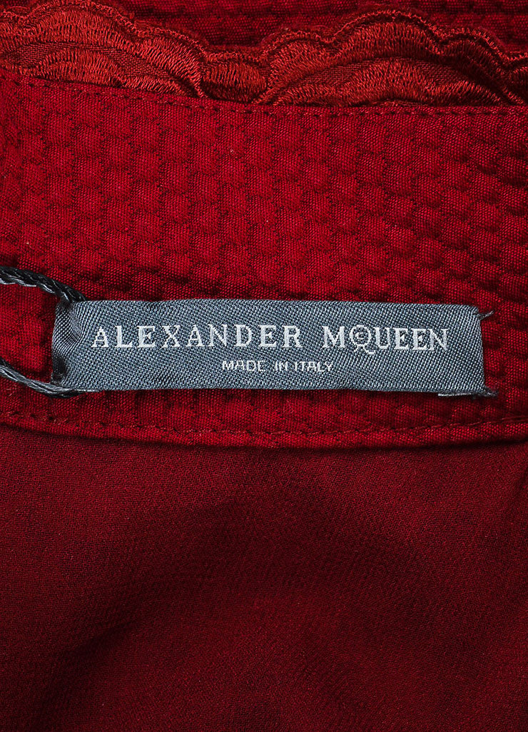 Burgundy Red Alexander McQueen Lace Paneled Fit and Flare Dress Brand