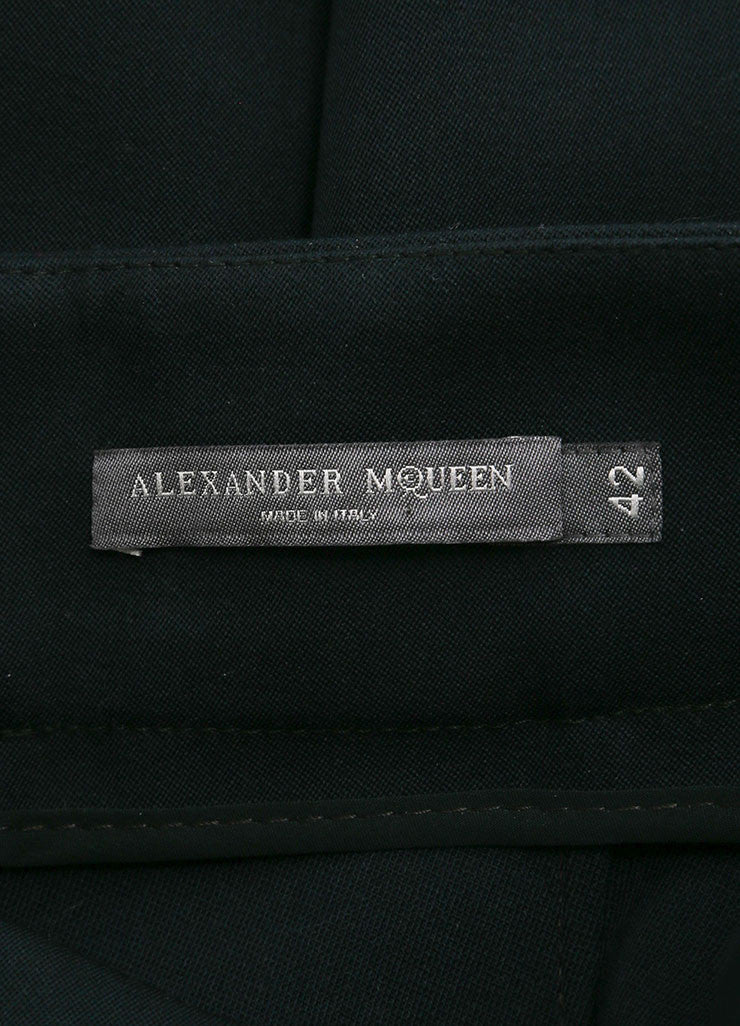"Alexander McQueen New With Tags Green Wool Cropped ""Grain de Poudre"" Trousers Brand"