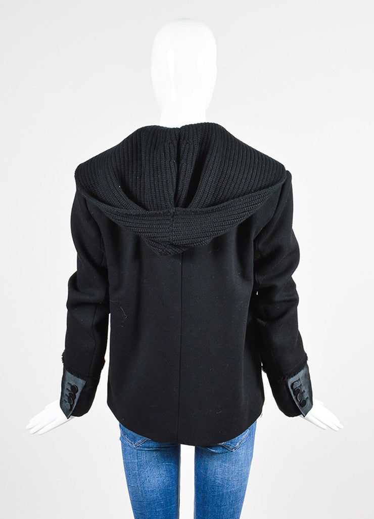 Black Alexander Wang Wool Hooded Double Breasted Peacoat Backview
