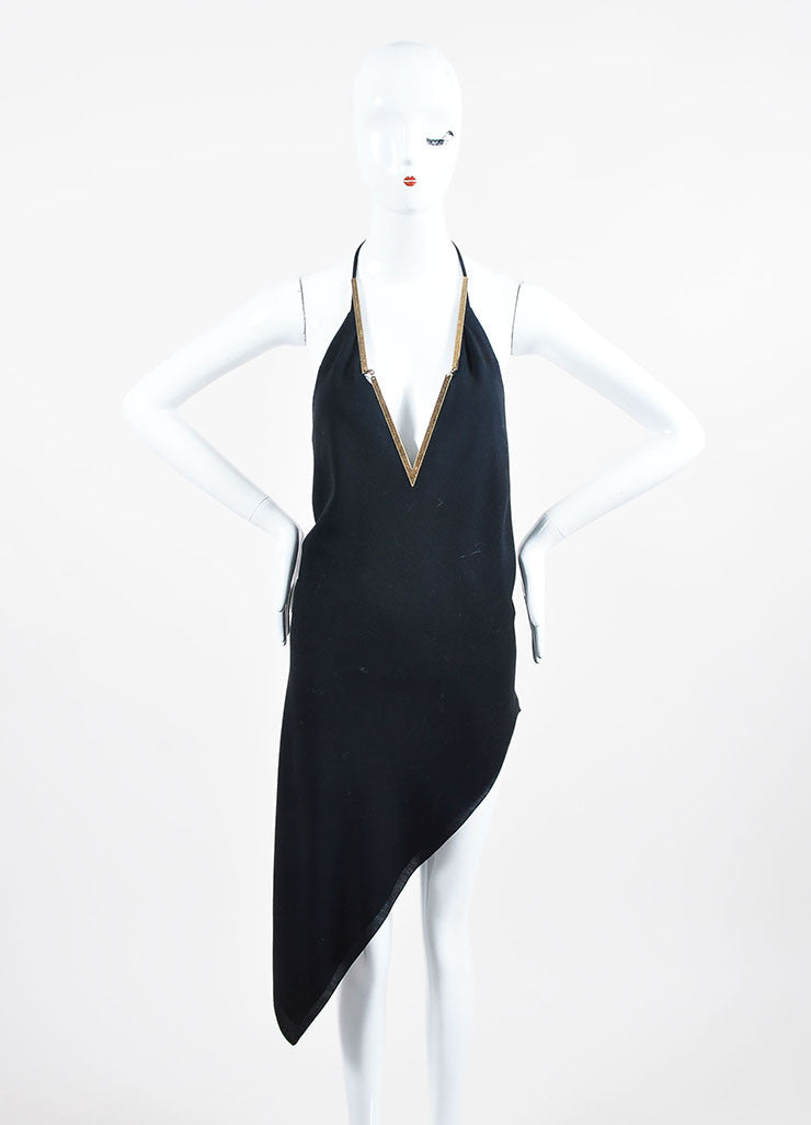 Black Anthony Vaccarello Brass V-Neck Asymmetrical Halter Dress Frontview