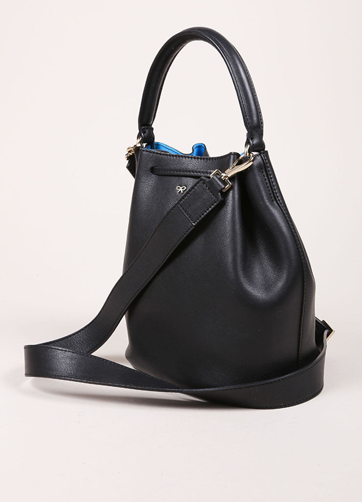 "Anya Hindmarch Black Leather ""Vaughan"" Drawstring Cross Body Bag Sideview"