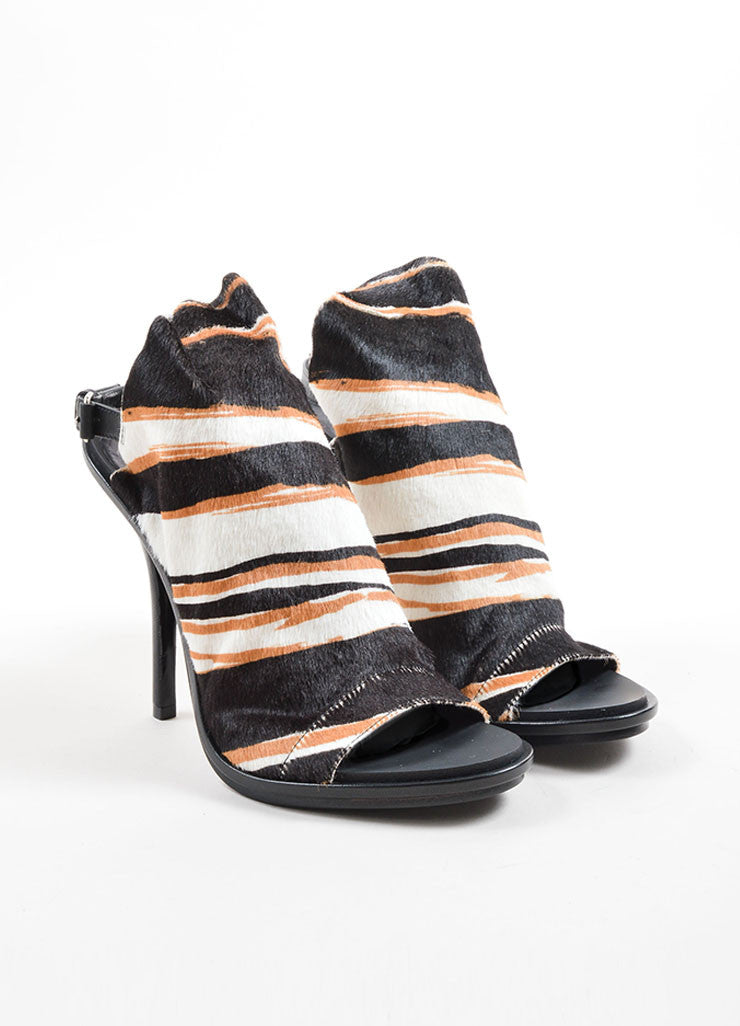 Balenciaga Black, White, and Tan Pony Hair Striped Open Toe Glove Heels Frontview