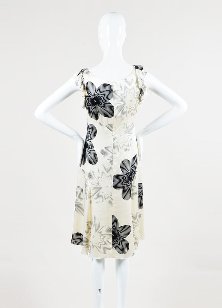 Chanel Cream and Black Silk Printed 'CC' Ruffle Sleeveless Dress Backview
