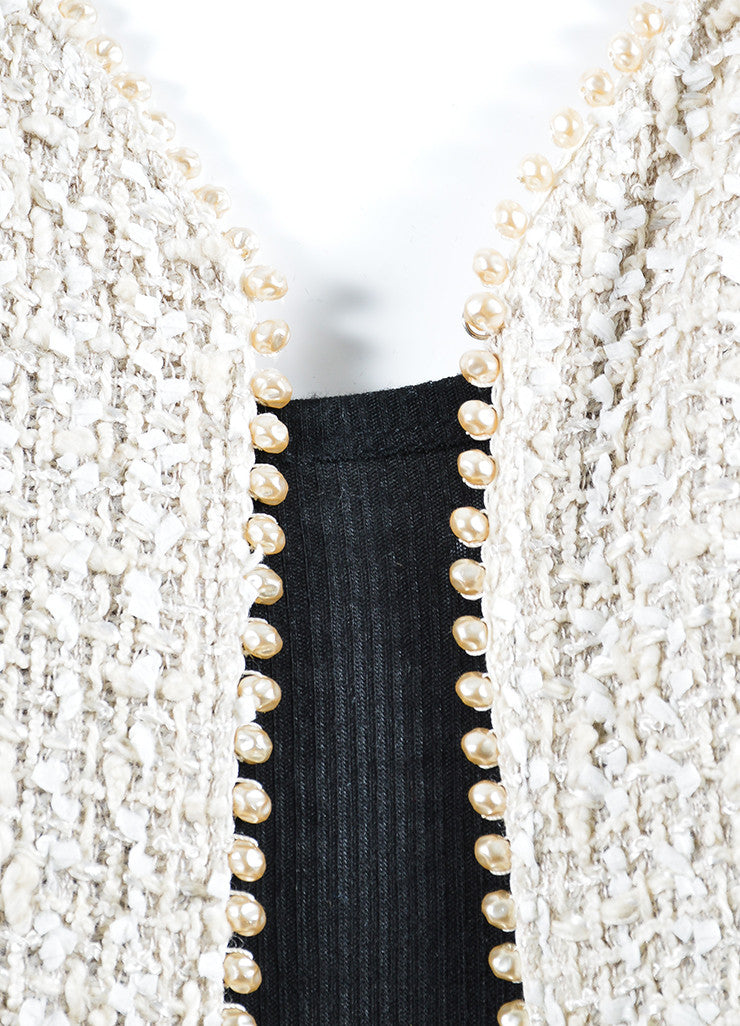 Cream Chanel Woven Tweed Faux Pearl Embellished Jacket Detail