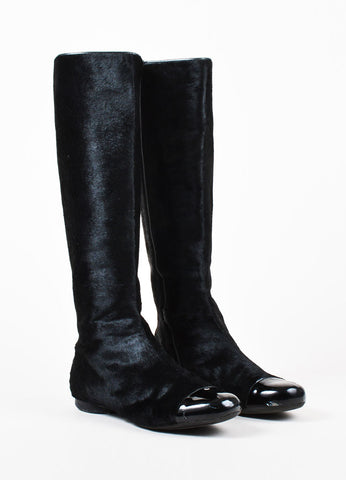 Chanel Black Haircalf Patent Leather Cap Toe 'CC' Zip Up Tall Flat Boots Frontview