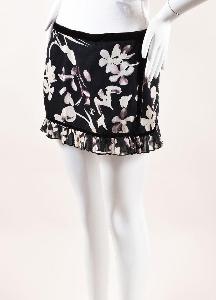 Chanel Black and White Woven Velvet Trim Floral Ruffle Wrap Sarong Mini Skirt Sideview
