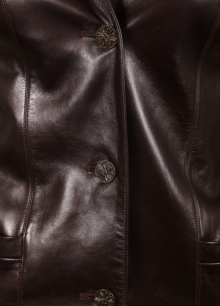 "Chanel Brown Leather ""CC"" Button Long Jacket Detail"