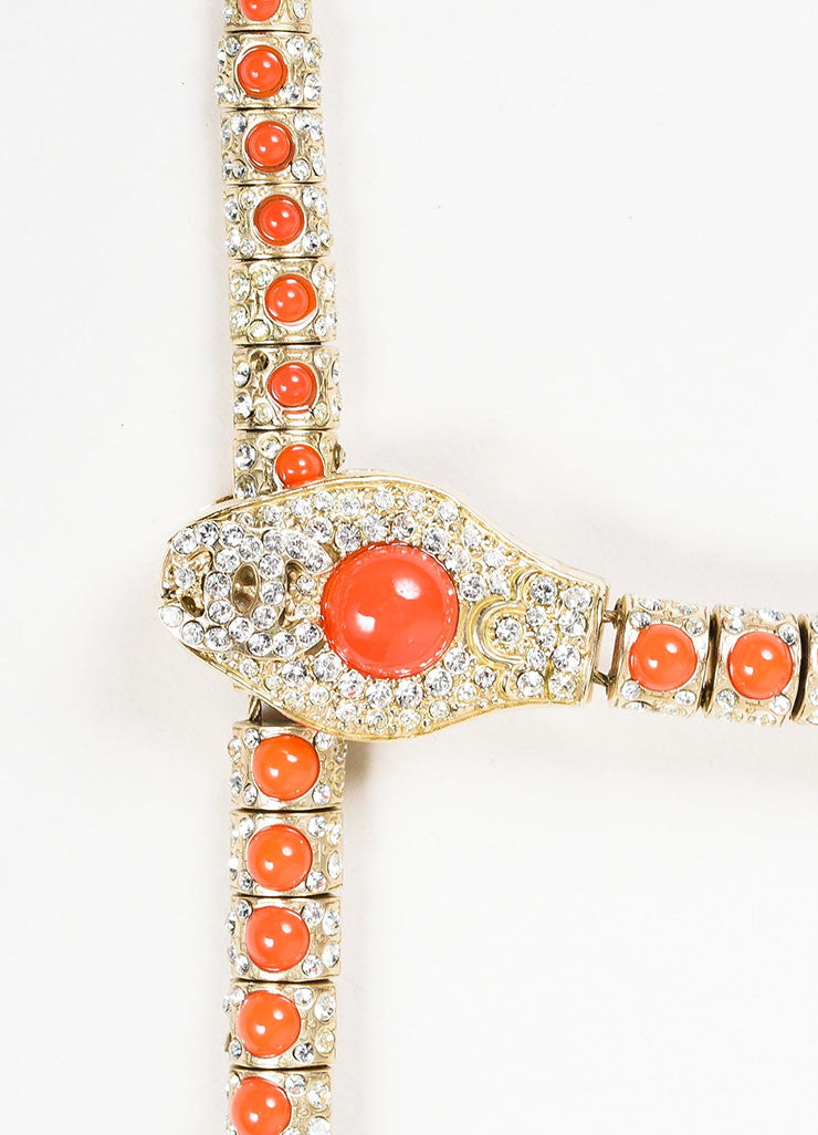 Gold Toned and Orange Chanel Cabochon Rhinestone Crystal 'CC' Snake Choker Necklace Detail 2