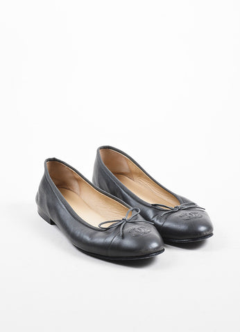 Grey Chanel Leather 'CC' Logo Cap Toe Bow Detail Ballet Flats Front
