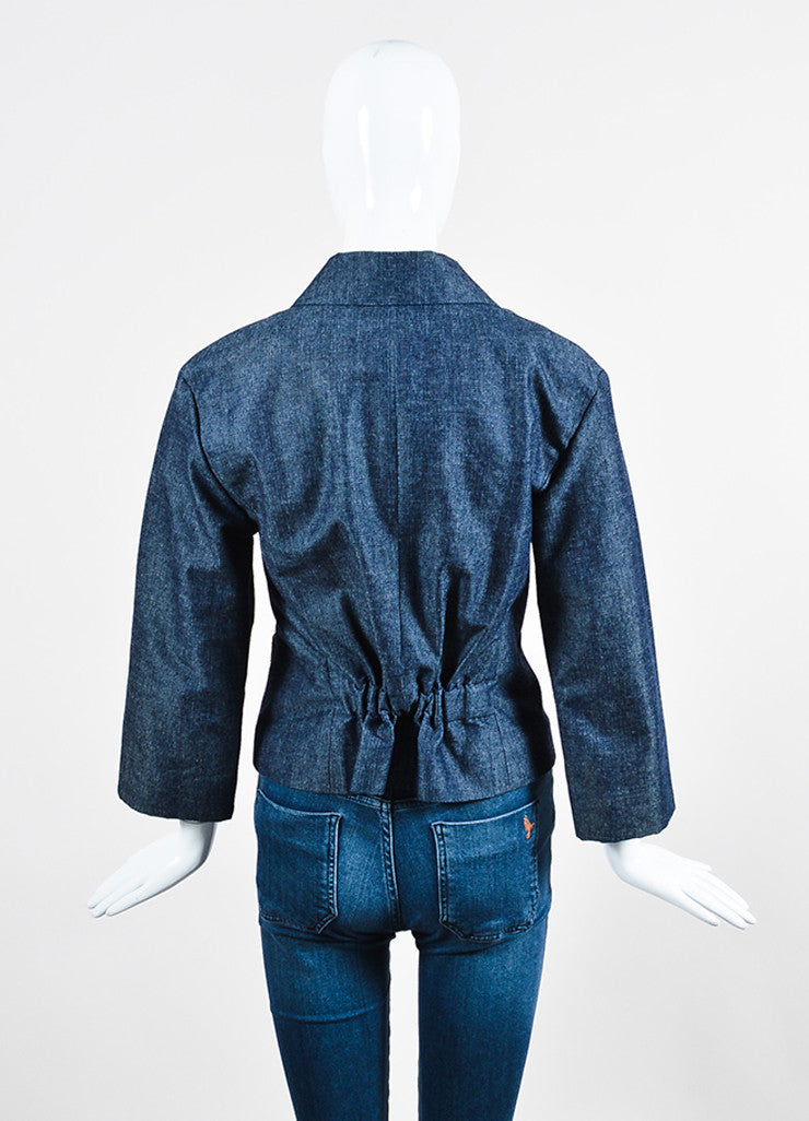 Chanel Blue Denim Sequin Pocket Pointed Collar Jacket Backview