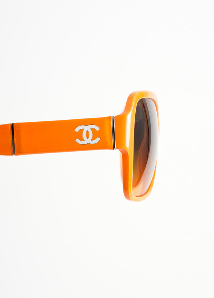 "Chanel Orange Plastic and Patent Leather ""CC"" Oversized ""5230Q"" Sunglasses Detail"