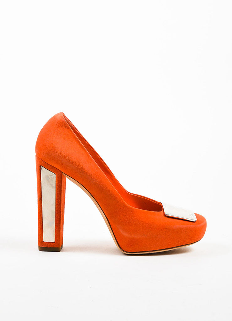 Orange and Silver Christian Dior Suede Square Toe Chunky Heel Pump Sideview