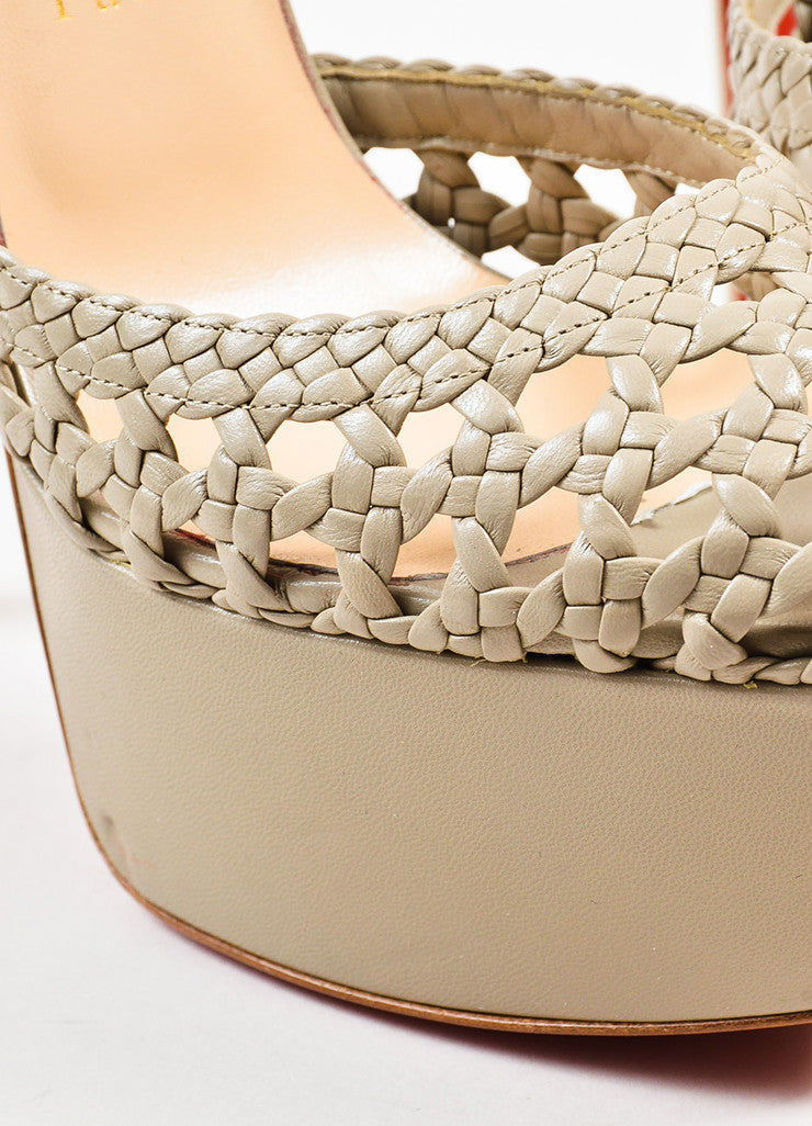 Christian Louboutin Taupe Leather Woven Ultra High Platform Sandals Detail