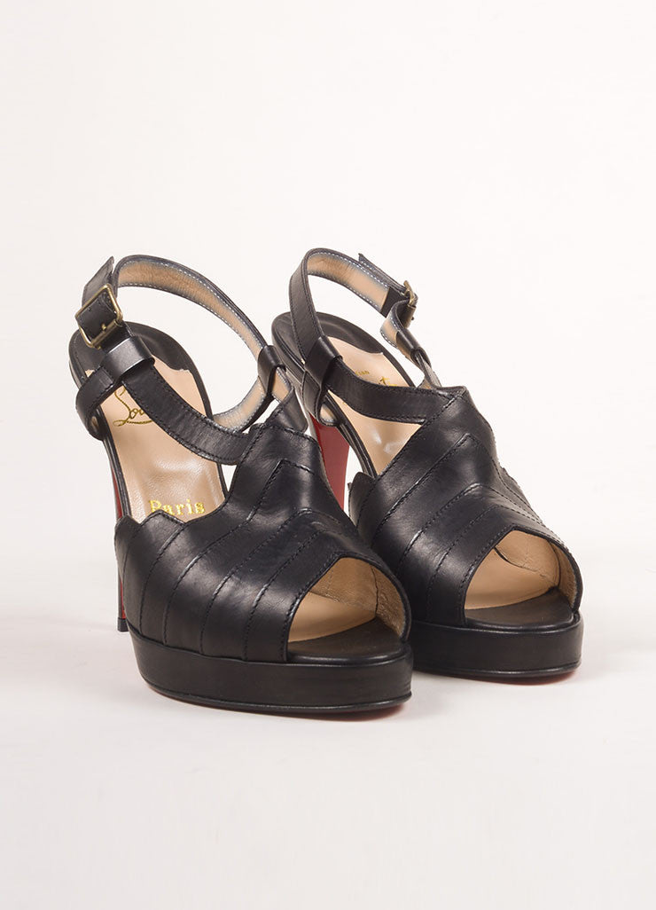 "Christian Louboutin New In Box Black Leather Strappy ""City Girl"" Platform Sandals Frontview"