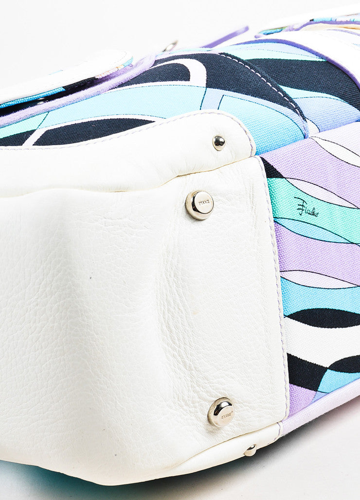 Emilio Pucci White, Lavender, and Teal Canvas Leather Trim Printed Pockets Handbag Detail
