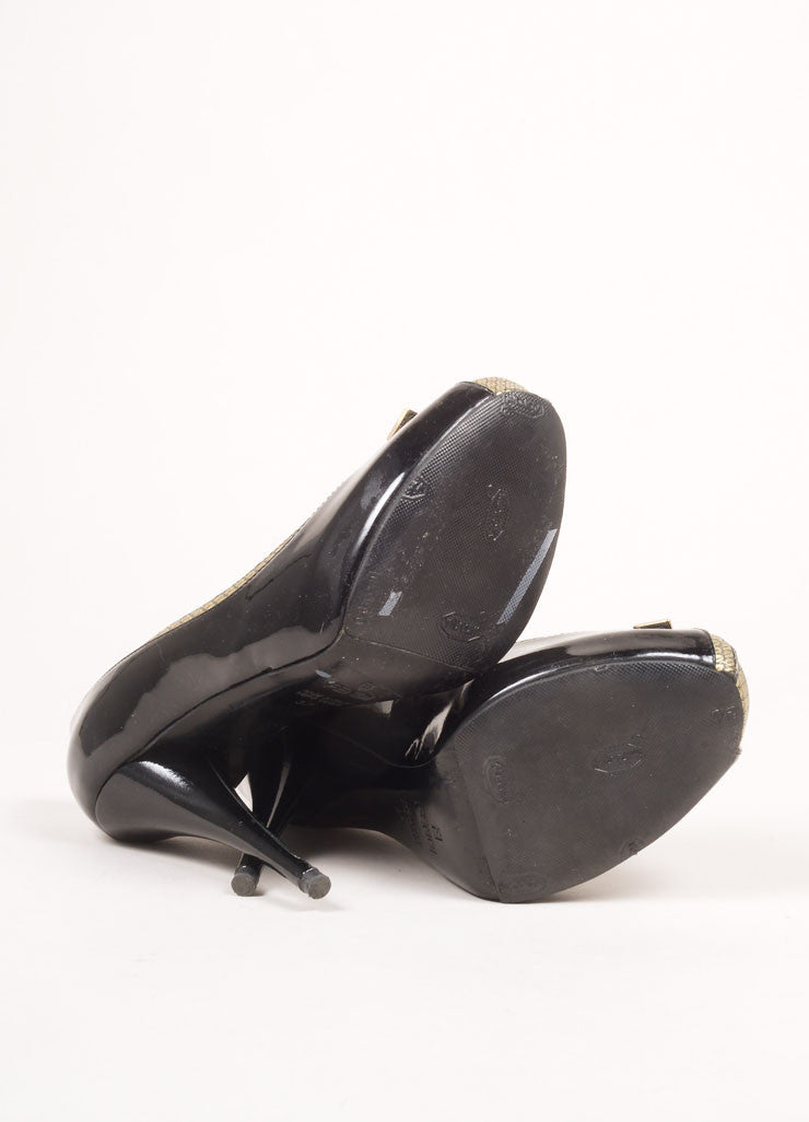 Fendi Black and Gold Toned Patent Leather Metallic Trim Bow Peep Toe Pumps Outsoles