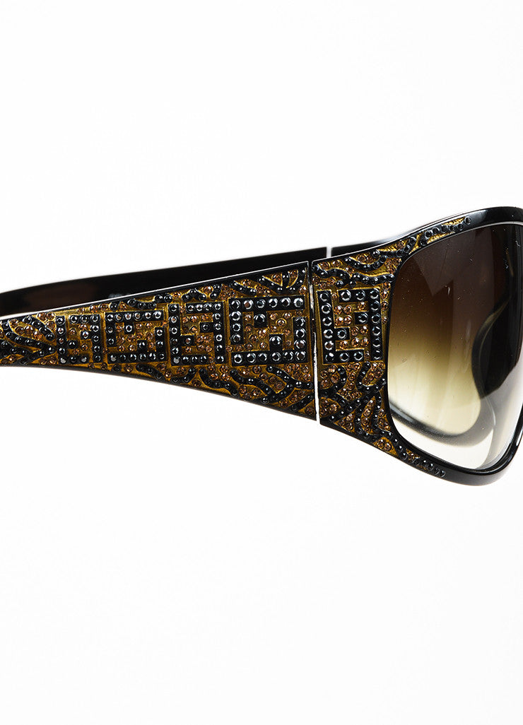 Fendi Limited Edition Black and Brown Oversized Rhinestone Logo Sunglasses Detail