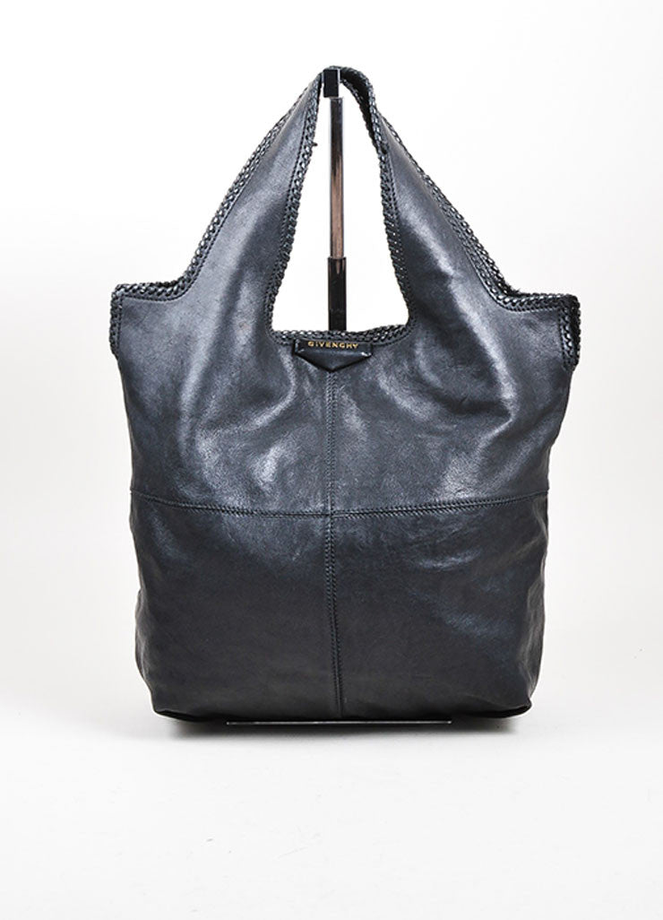 "Black Givenchy Leather Stitch Woven Trim ""George V"" Shoulder Tote Bag Frontview"