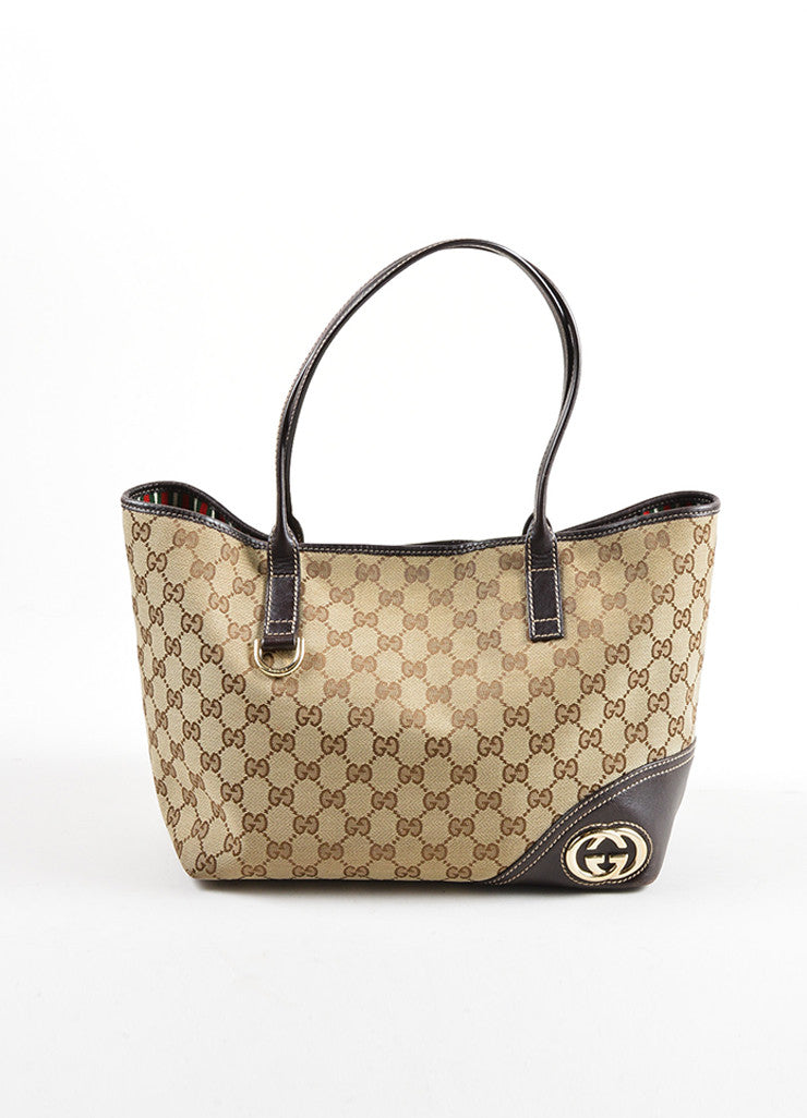 "Gucci Brown Monogram Canvas ""GG"" Tote Bag Frontview"