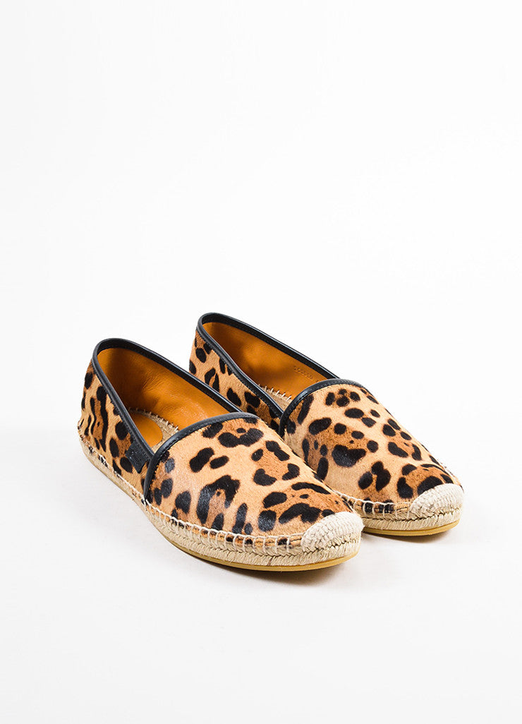 Black and Tan Gucci Leopard Print Ponyhair Espadrille Loafers Front