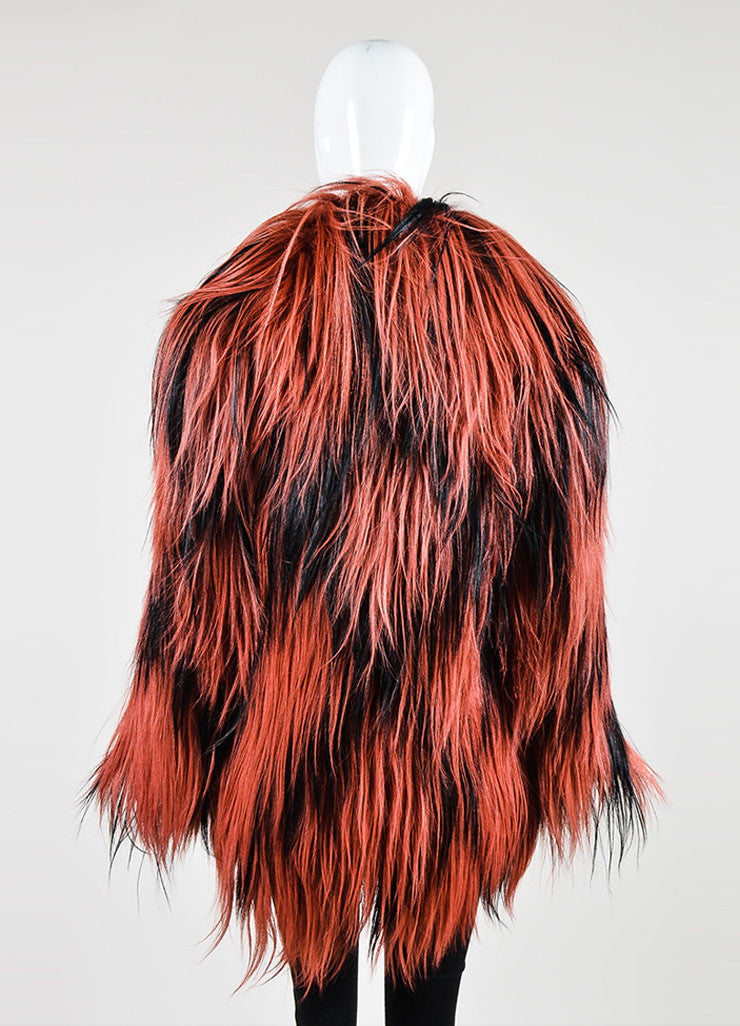 Red and Black Gucci Goat Fur Long Hair Coat  Backview
