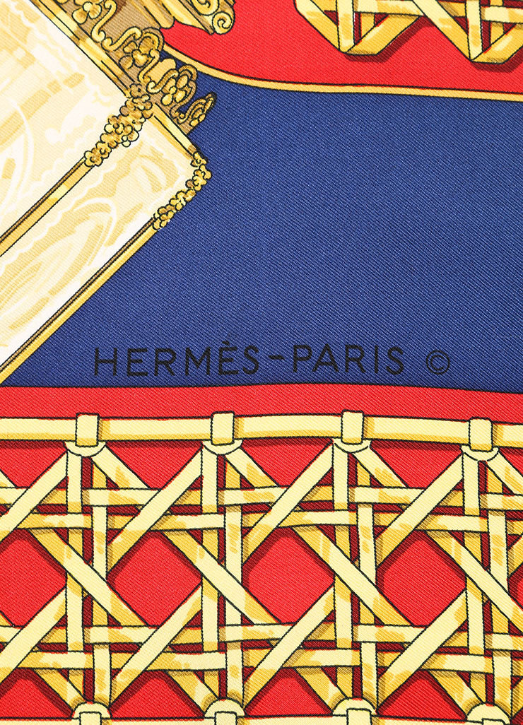 "Hermes Blue, Red and Gold Silk Lantern Print ""Feux de Route"" Scarf Brand"