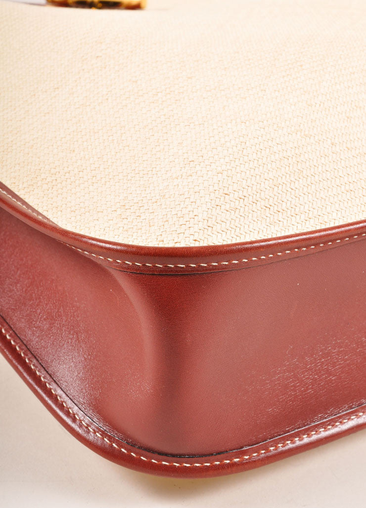 "Hermes Cream and Brown Raffia and Leather Toggle ""Vespa"" Shoulder Bag Detail"