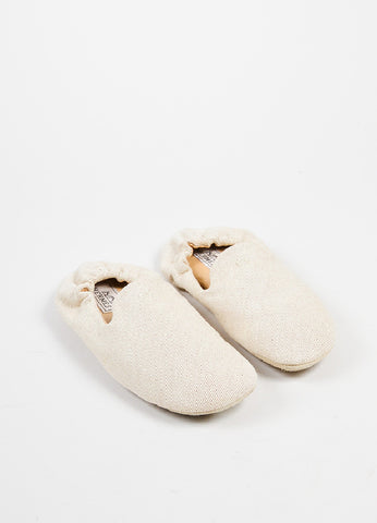 Hermes Cream Canvas House Slippers Frontview