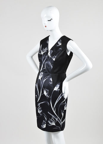 Black and White Jason Wu Silk Abstract Print Sleeveless V-Neck Sheath Dress Sideview