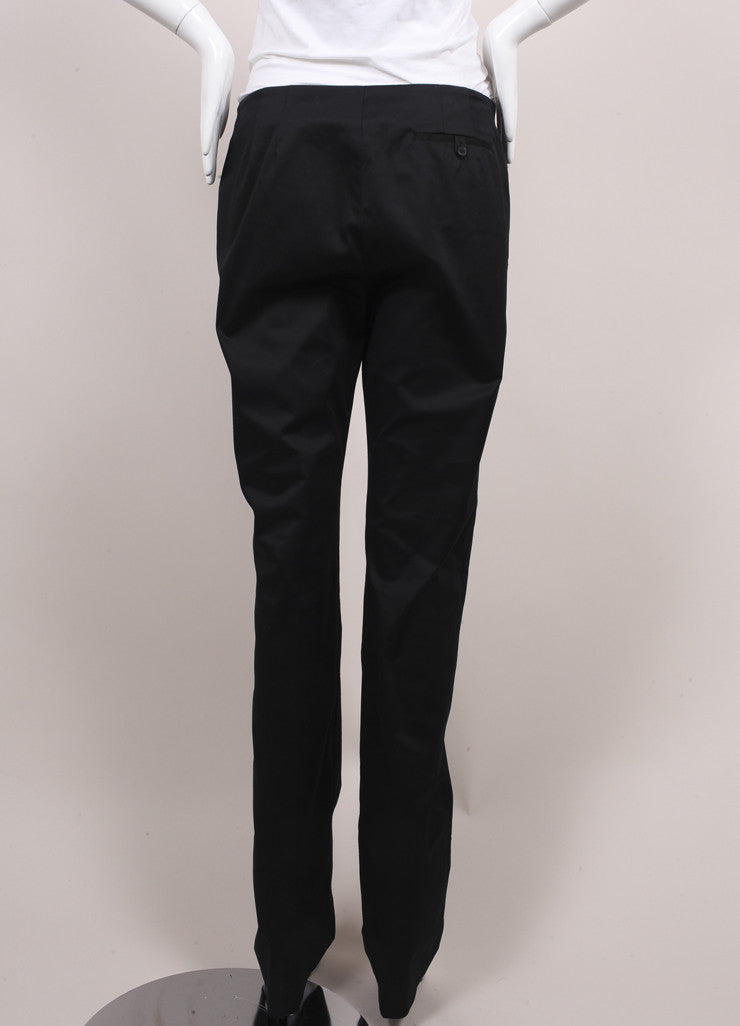 "Jil Sander New With Tags Black Sateen Cotton Straight Leg ""Giulio"" Trousers Backview"