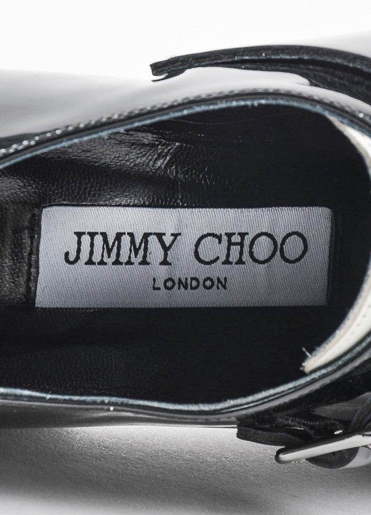 Jimmy Choo Black and Cream Patent Leather Buckled Oxfords Brand