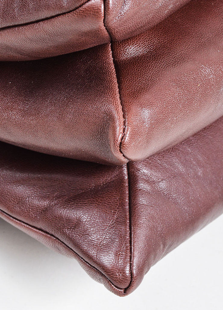 "Oxblood Red Lanvin Lambskin Leather Chain Strap ""Medium Sugar"" Flap Bag Detail"
