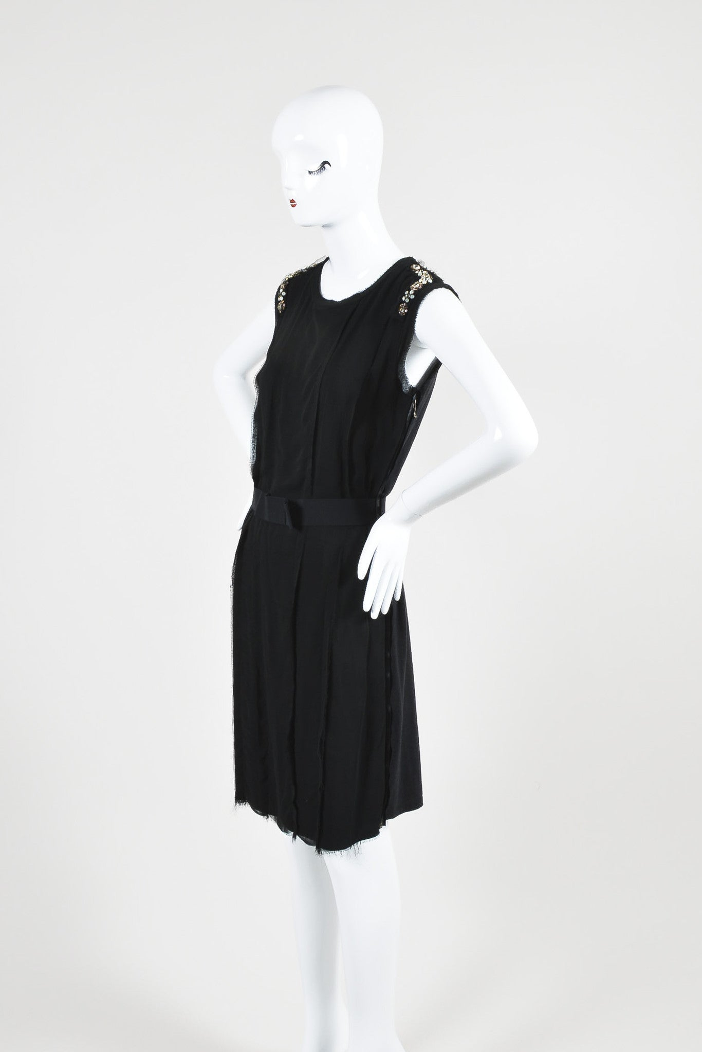 Lanvin Black Cotton Knit Chiffon Crystal Embellished Belted Sleeveless Dress Sideview