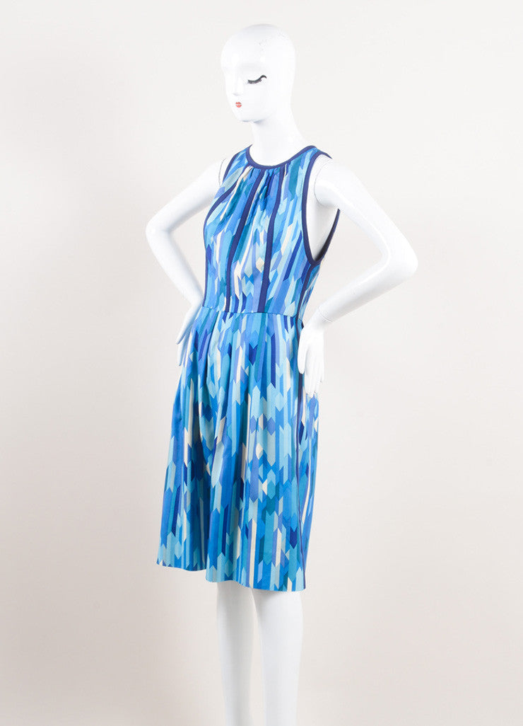 Lela Rose New With Tags Blue and Green Silk Geometric Print Sleeveless A-Line Dress Sideview