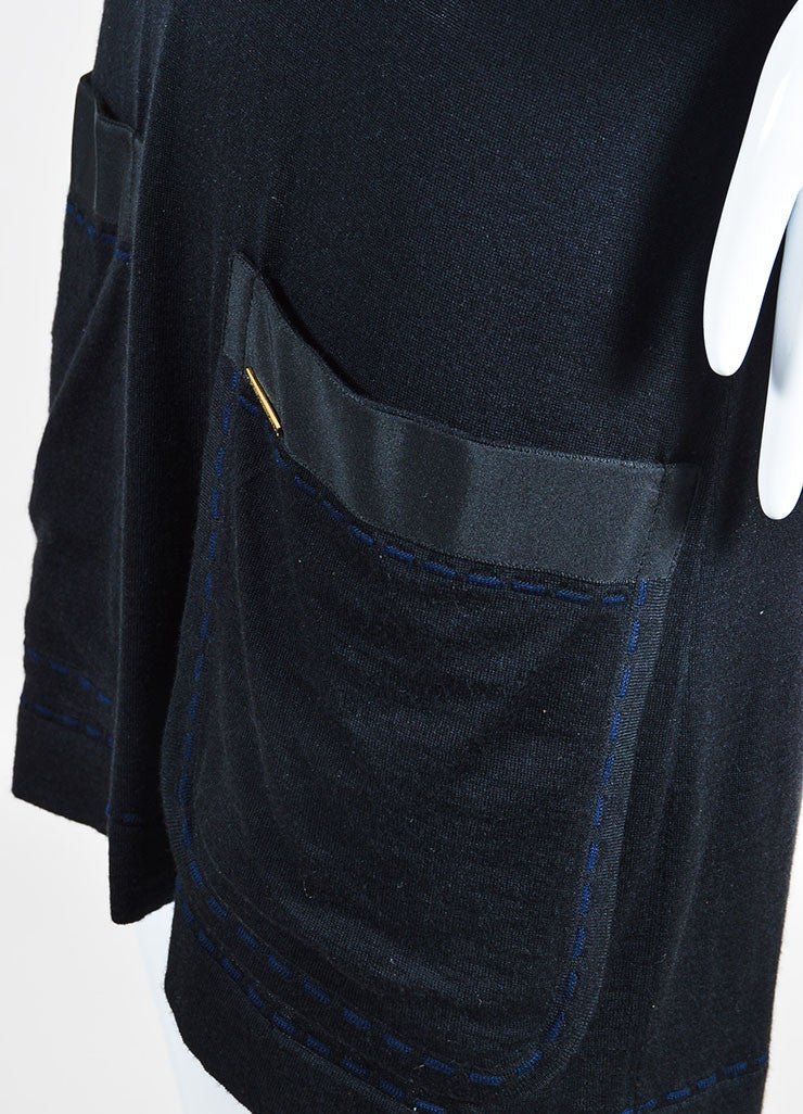 Black Louis Vuitton Wool and Cashmere Knit Short Sleeve V Neck Shirt Dress Detail