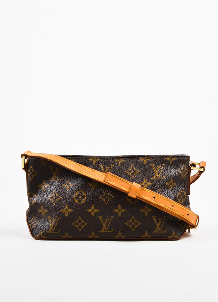 "Louis Vuitton Brown and Tan Coated Canvas Leather Monogram ""Trotteur"" Crossbody Bag Frontview"