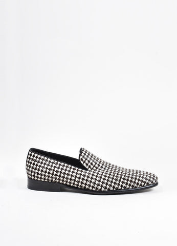 Men's Dolce & Gabbana White Brown Houndstooth Loafer Shoes Side