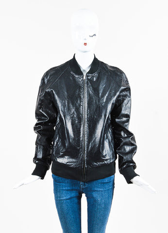 Maison Martin Margiela Black Perforated Leather Zip Up Bomber Jacket Front 2