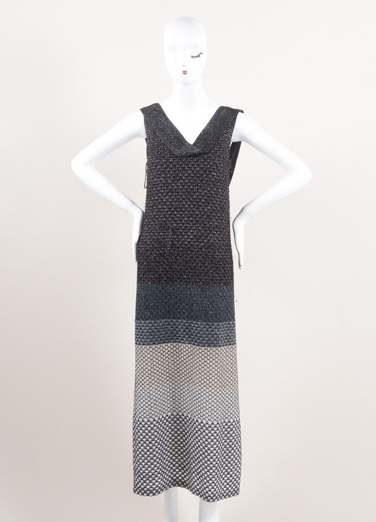 Missoni New With Tags Black, Silver, and White Metallic Knit Sleeveless Maxi Dress Frontview