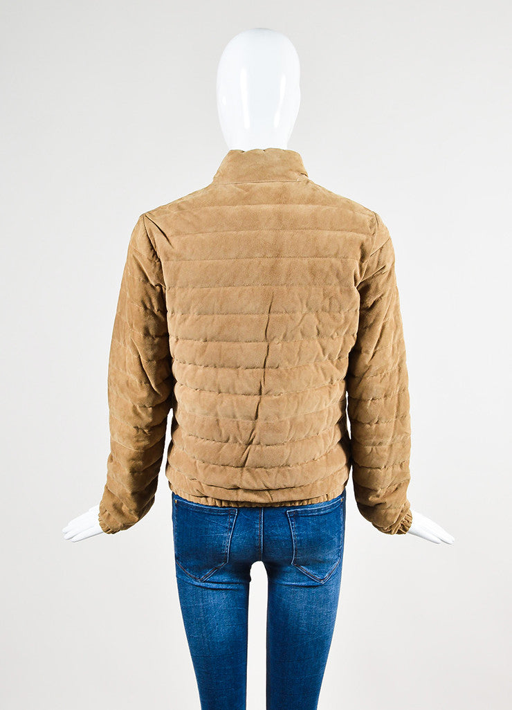 Moncler Tan Suede Down Quilted Puffer Coat Backview