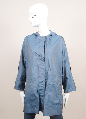 Mooreer New With Tags Blue Hooded Rain Coat Frontview